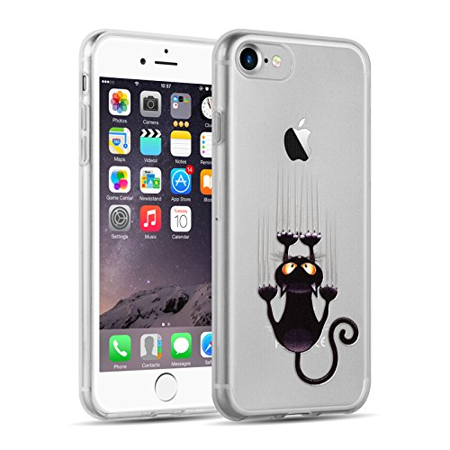 Cover-iPhone-7-Plus-JAMMYLIZARD-Custodia-in-Silicone-Trasparente-con-Sketch-per-iPhone-7-Plus-GATTO-CHE-SCIVOLA