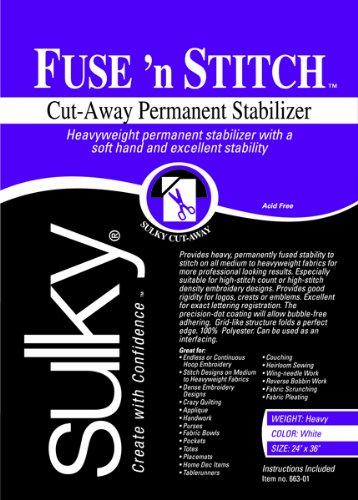 Sulky Fuse 'n Stitch Cut Away Permanent Fabric Stabilizer, 24 by 36-Inch