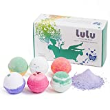 Bath Bombs Gift Set with BONUS Mineral Bubble Bath Powder - 6 Premium Tennis Ball Size Made in the USA by LULU