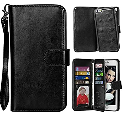 iPhone 6 Case, Vofolen(TM) 2 in 1 iPhone 6 Case Wallet Folio Flip Leather Case Protective Shell + Magnetic Detachable Slim Back Cover + Card Holder Wrist Strap for Apple iPhone 6 4.7 inch from Vofolen