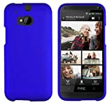 HTC One (M8) Solid Plain Color Hard Protector Cover Case (For 2014 HTC new flagship Android phone; Carrier: Verizon AT&T T-Mobile Sprint) + Travel (Wall) Charger & Car Charger + 1 of New Assorted Color Metal Stylus Touch Screen Pen (BLUE)