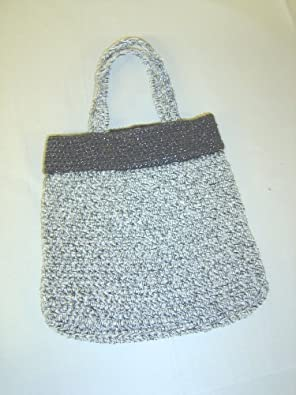 Bg35, Hand Crocheted White and Black Metallic Tweed Gimp Hand Bag with Handle for Women and Teens