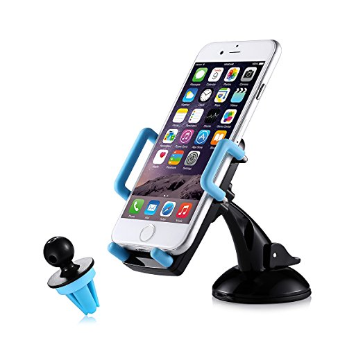 Car Mount, Poweradd 2-in-1 Universal 360° Dashboard / Windshield/ Air Vent Car Phone Mount Holder Cradle for iPhone, Samsung, Nexus, Motorola, Sony,