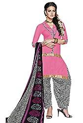 Manvaa Light Pink American Crep Embroidered Patiyala Dress Material