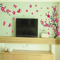 Removable Vinyl Wall Sticker Mural Decal Art - Blossoms Cherry Tree Branch & Dancing Butterfly - Home - Decors Nursery