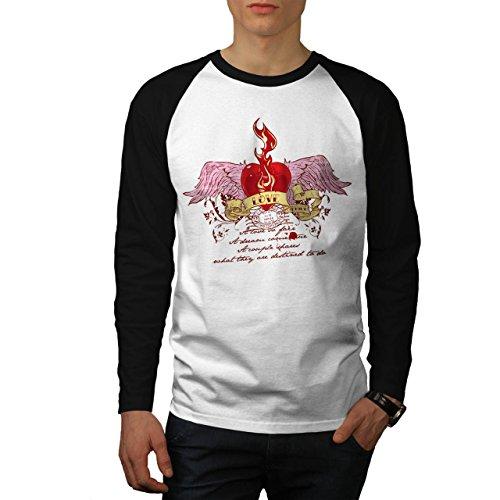 Amore Lussuria Orgoglio Energia Bacio Uomo Nuovo Bianca (Maniche Nere) L Baseball manica lunga Maglietta | Wellcoda
