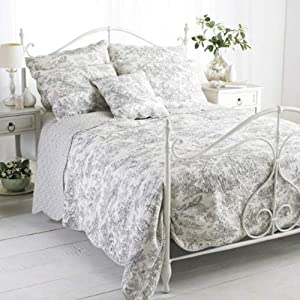 Paoletti Canterbury Tales Toile De Jouy Pure Cotton Quilted Bedspread, White/Gre       Customer reviews and more information
