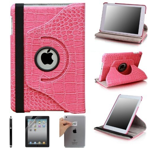 Best  MYCARRYINGCASE 360 Degree Rotating Stand Tablets Cover Case (iPad Mini, Crocodile Pattern Hot Pink)