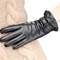 WARMEN Stylish Genuine Nappa Leather Winter Warm Lined Gloves (M, Black)