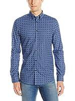 Ben Sherman Camisa Hombre Ls Mid Geo Target (Azul Royal)