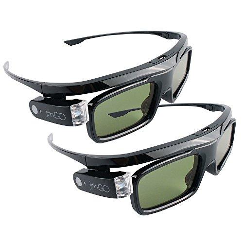 JmGO 2Pcs HGL1 DPL-Link 3D Glasses Rechargeable Active Black for DLP 3D Projector TV
