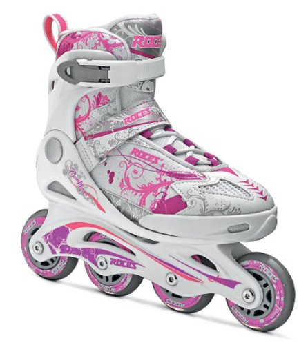 Roces - Pattini in linea da bambina Compy 7.0, Multicolore (White/Violet/pink), 38-41