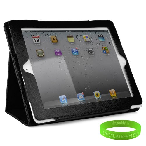 Black Padded iPad Skin Cover Case Stand with Screen Flap and Sleep Function for all Models of The New Apple iPad ( 3rd Generation, wifi , + AT&T 4G , 16 GB , 32GB , 64 GB, MC707LL/A , MD328LL/A , MC705LL/A , MC706LL/A , MD329LL/A , MD368LL/A , MC756LL/A , MC744LL/A ect.. ) + Live * Laugh * Love Vangoddy Trademarked Wrist Band!!!