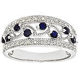 Bijoux pour tous - PR06418W SA - J - Bague Femme - Or blanc (9 carats) 3 Gr - Diamant - Saphir 0.004 Cts