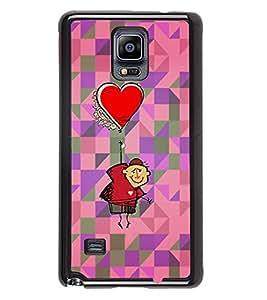 PRINTVISA Heart Ballon Premium Metallic Insert Back Case Cover for Samsung Galaxy Note 4 - N910F - D5677