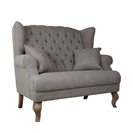 Design Sofa in Taupe Stoff Chesterfield Look Pharao24