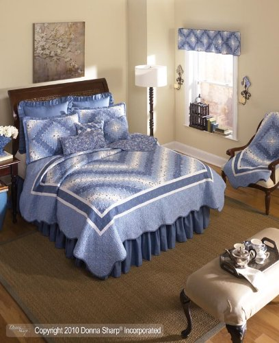 Donna Sharp Precious Postage Stamp Quilted Throw or Wallhanging Blue