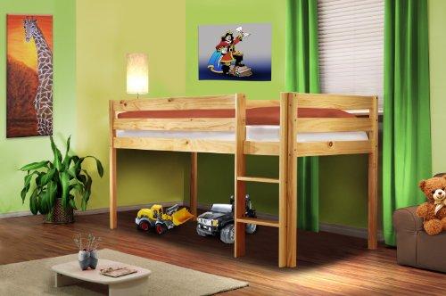 Hochbett-Kinderbett-Spielbett-Massiv-Kiefer-Natur-SHB1035