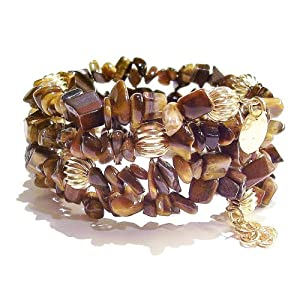 Memory Wire Bangle - Tiger's Eye & Fluted Gold-Plated Beads