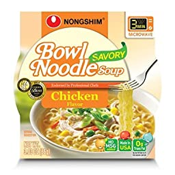 Nongshim Bowl Noodle Soup, Chicken, 3.03 Ounce (Pack of 12)