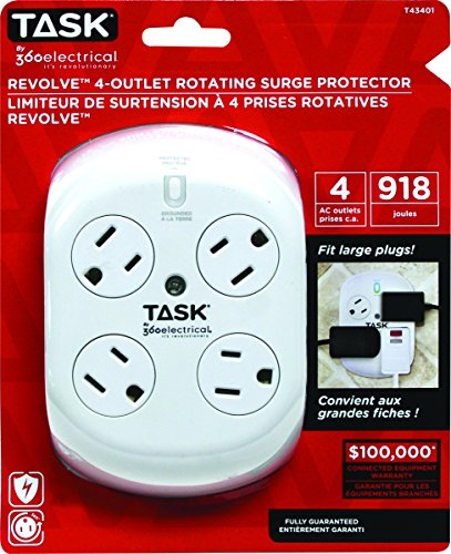 Task Tools by 360 Electrical Revolve 4-Outlet Rotating Surge Protector