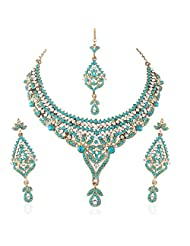 I Jewels Traditional Gold Plated Stone Necklace Set With Maang Tikka For Women(Rama/Bluish Green)(M4026Sb)