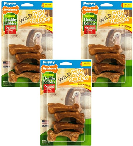 Nylabone Healthy Edibles Wild Turkey Puppy Treat Bones - 12 Total Bones (3 Packages with 4 per Package) (Nylabone Omega 3 compare prices)