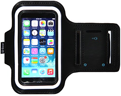 iPhone 5/5S/5c SE Running & Exercise Armband with Key Holder & Reflective Band   Also Fits iPhone 4/4S (Black) (Amazon Phone Armband compare prices)
