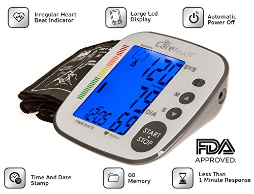 Care Touch Fully Automatic Upper Arm Blood Pressure Monitor - Platinum Series, Medium to Large Cuff - Batteries Included (Blood Pressure Testing Machine compare prices)