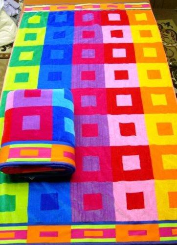Egyptian Bedding Egyptian Cotton Jacquard Oversized Beach Towel Set, Classic, Set of 2