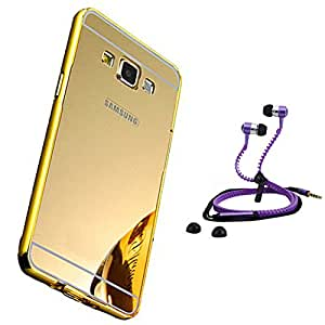 Droit Luxury Metal Bumper + Acrylic Mirror Back Cover Case For + Samsung J7 2016 Stylish Zipper Handfree and Good QualitySound by Droit Store.