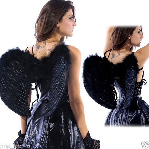 [Party Costume Swan Angel Black Feather Wings Sexy Halloween Goth Fancy Dress OS] (Angel And Demon Costumes)