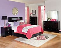 Hot Sale Standard Furniture Marilyn Black 5 Piece Headboard Bedroom Set In Glossy Black