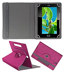 Acm Designer Rotating Case For Datawind Ubislate 7dc+ Plus Stand Cover Dark Pink