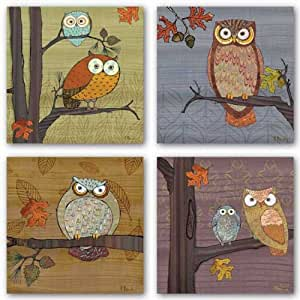 Awesome Owls Set By Paul Brent 8 X8 Art Print