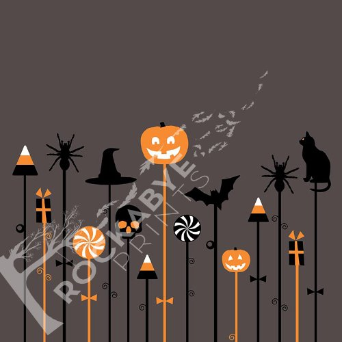 Photography Backdrop / Floordrop - 5Ft X 5Ft Halloween Characters On Sticks On Grey - Durable Vinyl Backgroud front-975822