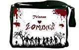 "Rikki KnightTM ""Tristan"" Loves Zombies on Red Grunge Personalized with Name Messenger Bag - - Shoulder Bag - School Bag for School or Work - With Matching coin Purse"