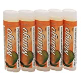SALUS Mango â˜... Organic Lip Conditioner 5 Pack â˜... All Natural and made with Organic Beeswax, Organic Shea Butter, and Organic Cocoa Butter - Handcrafted in the USA - 5 Pack