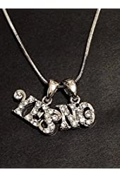 Sliver Crystal YES No Charm Pendant Necklace