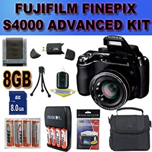 Fujifilm FinePix S4000 14 MP Digital Camera with Fujinon 30x Super Wide Angle Optical Zoom Lens and 3-Inch LCD Accessory Saver 8GB NiMH Battery/Rapid Charger Bundle International Version With no Warranty BLACK