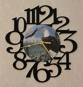 EAGLES ~ LARGE Decorative BLACK PHOTO WALL CLOCK ~ Great Gift Idea for an EAGLE Enthusiast!!