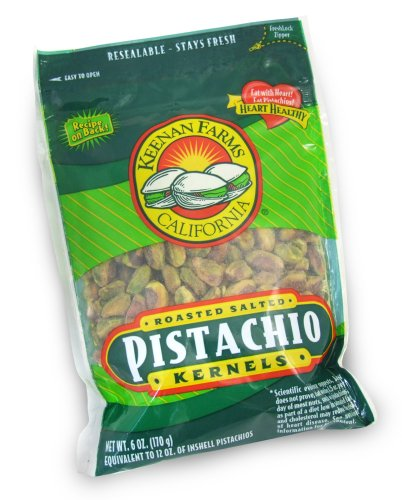 Keenan Farms Shelled Kernel Pistachio, 6-Ounce Bags (Pack of 6)