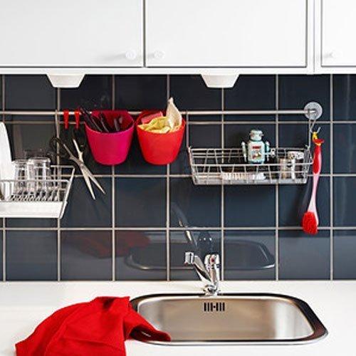 Set of 2 Ikea Steel Wire Basket Spice Rack Hang or Free Standing Kitchen Storage Holder