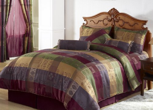 Chezmoi Collection 7 Pieces Multi Color Gitano Jacquard Patchwork Comforter (90