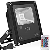 LE Remote Control 10W RGB LED Flood Lights, Color Changing LED Security Light, 16 Colors & 4 Modes, Waterproof LED Floodlight, US 3-Plug, Wall Washer Light