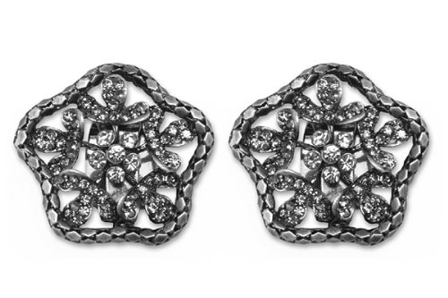 Sassy Clips Antique Silver Flower with Translucent Black Crystal Rhinestones