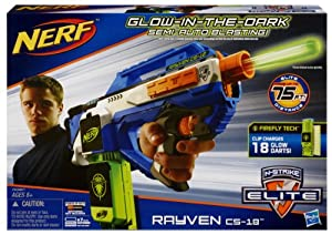 Hasbro Nerf A0967E24 N-Strike Elite Rayven - Pistola de dardos fluorescentes