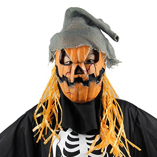 [Halloween Costume Mask , Hatop Halloween Party Mask Cosplay Mask Pumpkin Scarecrow Terror Mask Head] (Making A Scarecrow Costume)