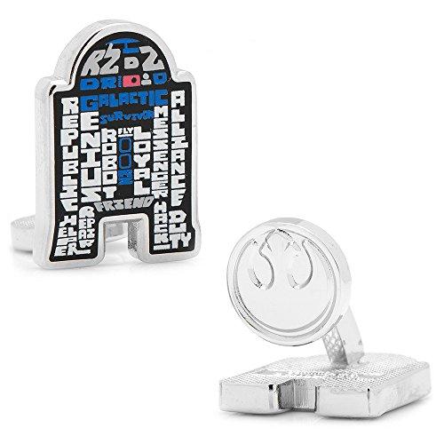 Star Wars Enamel Typography Art Silver Plated Cufflinks (R2D2)