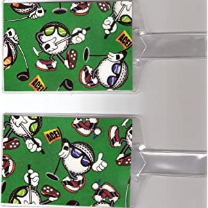 Luggage Tags Made with Golf Ball Dude Fabric